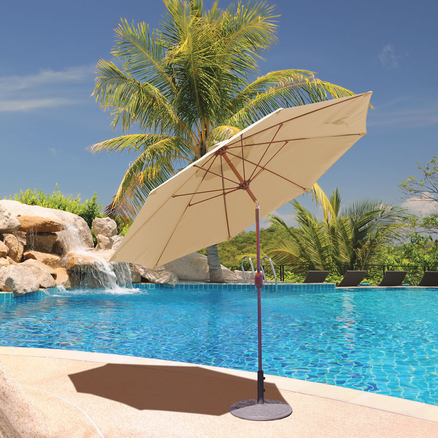 636 9\' Manual Tilt Galtech International Market Umbrellas and Stands